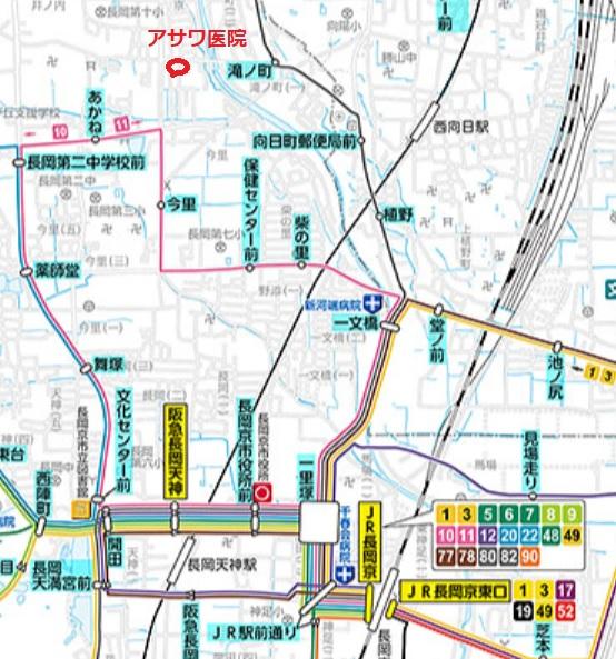 ブログ「モノオス」阪急長岡天神駅とJR長岡京駅からアサワ医院へのバスでの行き方を載せた地図の画像