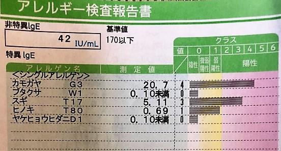 ブログ「モノオス」管理人のアレルギー検査結果の画像