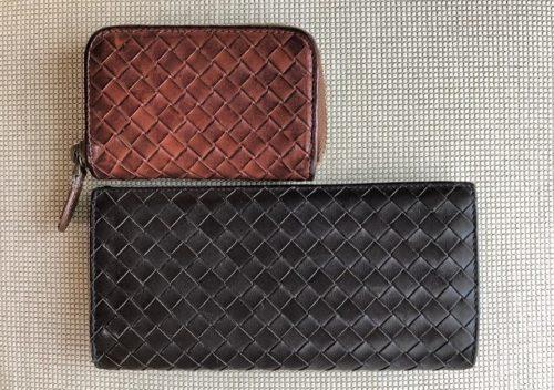 ブログ「モノオス」ボッテガヴェネタの長財布と小銭入れを真上から撮影した写真