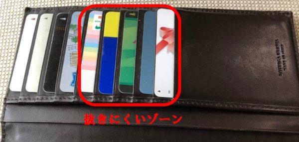 ブログ「モノオス」ボッテガヴェネタの長財布のカード入れにカードが全部入っている写真