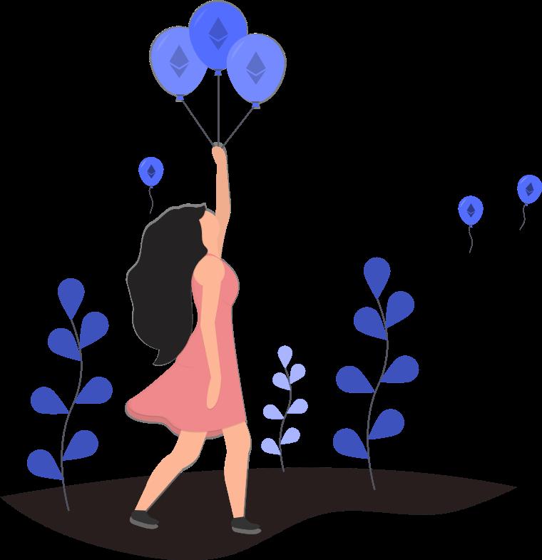 ブログ「モノオス」お金の風船を飛ばす女性を描いた画像