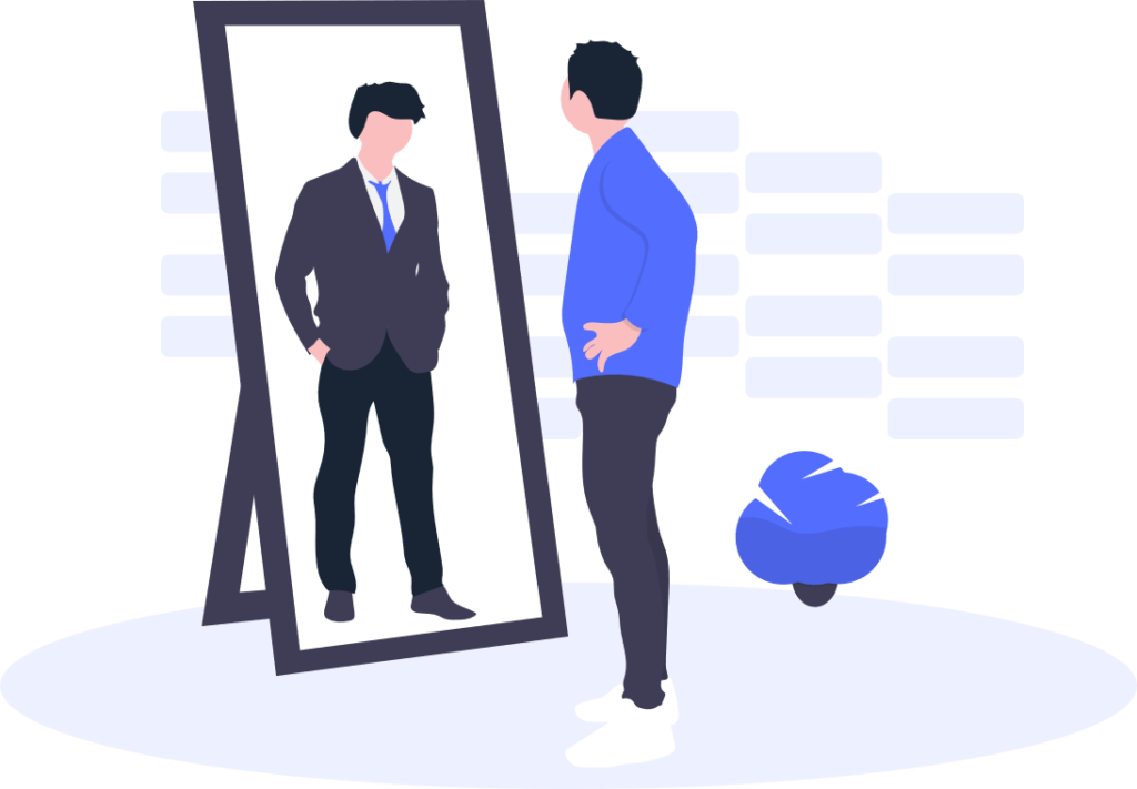 ブログ「モノオス」鏡を見ている男性を描いた画像