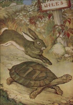 ブログ「モノオス」渋沢栄一『論語と算盤』の渋沢の考え方がイソップ寓話の「ウサギとカメ」と似ているので画像を紹介