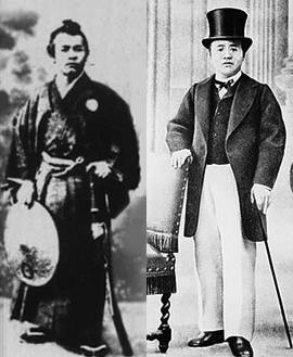 ブログ「モノオス」1866年が和服で1867年に洋服を着ている渋沢栄一の画像