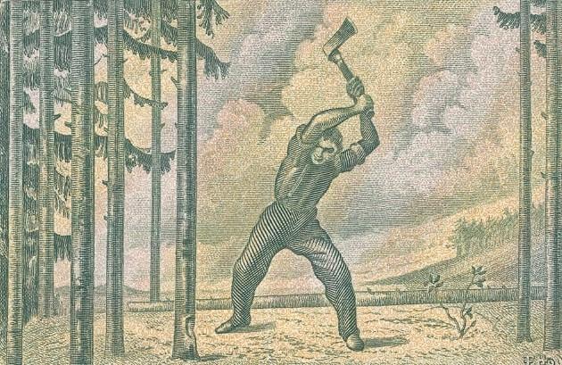 きこりが木を切っている絵の画像