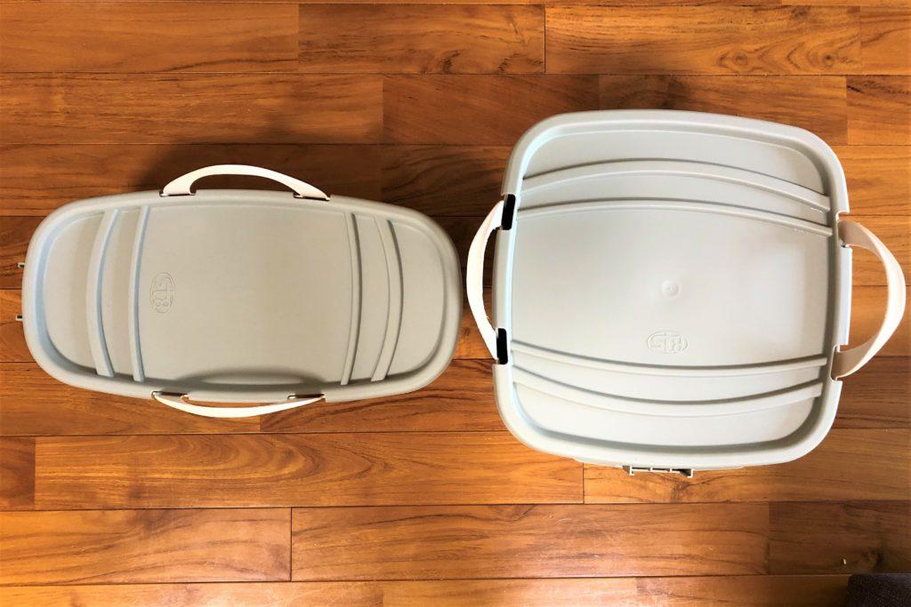 ブログ「モノオス」フタがついた2種類のスタックストーを上から撮った画像