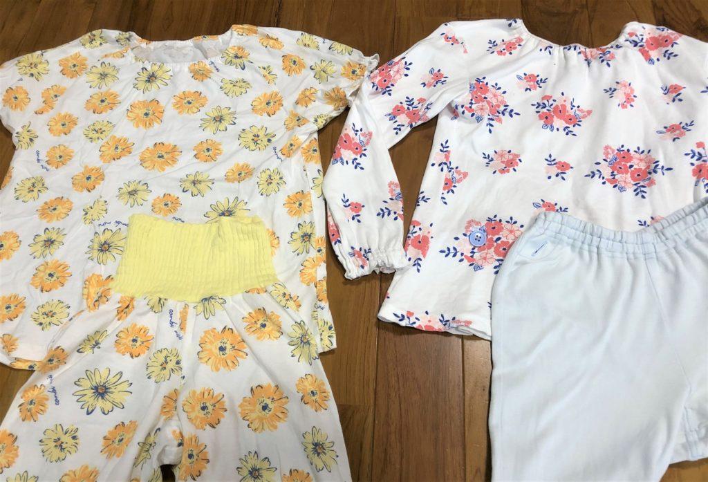 ブログ「モノオス」コンビミニのキッズ用パジャマのゴムありズボンとボタン止めズボンを撮った画像