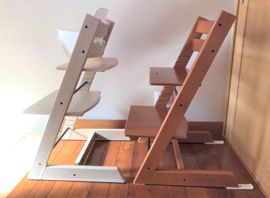 ブログ「モノオス」ストッケのトリップトラップのブナとオークのモデルを横から撮った画像