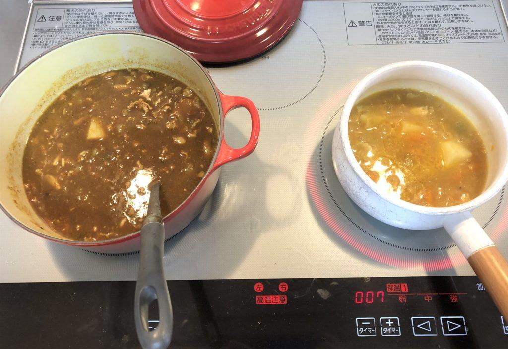 ブログ「モノオス」キャニオンスパイス 大人のためのカレールウ。とこどものためのカレールウ。を煮ている画像