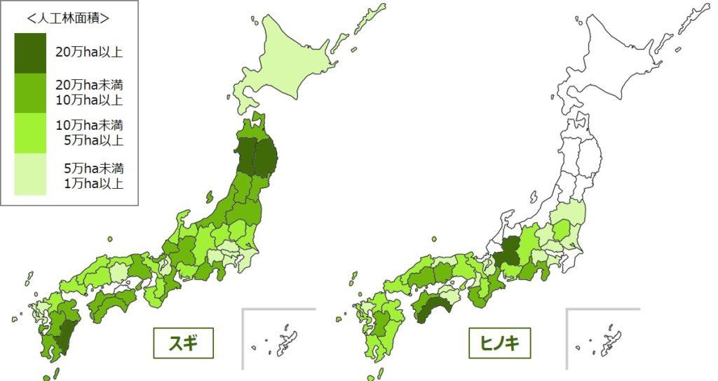 ブログ「モノオス」林野庁の統計資料(スギ・ヒノキ人工林の全国分布)