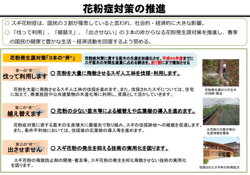 ブログ「モノオス」林野庁ポンチ絵(花粉症発生源対策3本の斧)