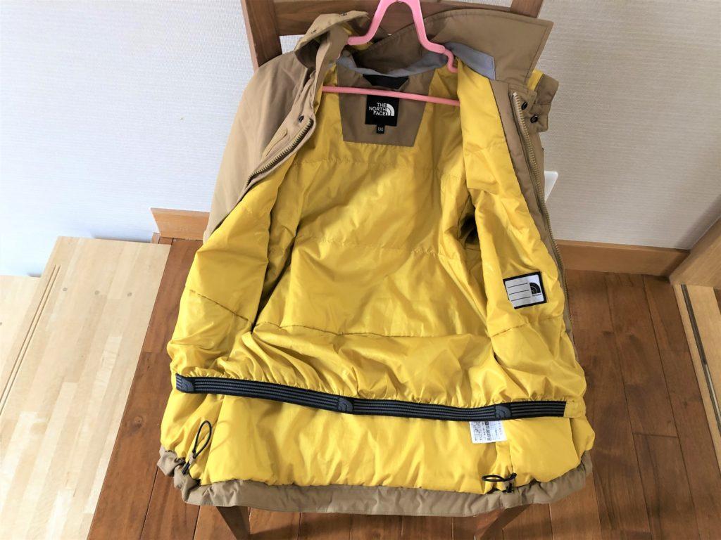 ブログ「モノオス」ノースフェイス ウィンターコーチジャケット キッズのジャケット内側全体を撮った画像