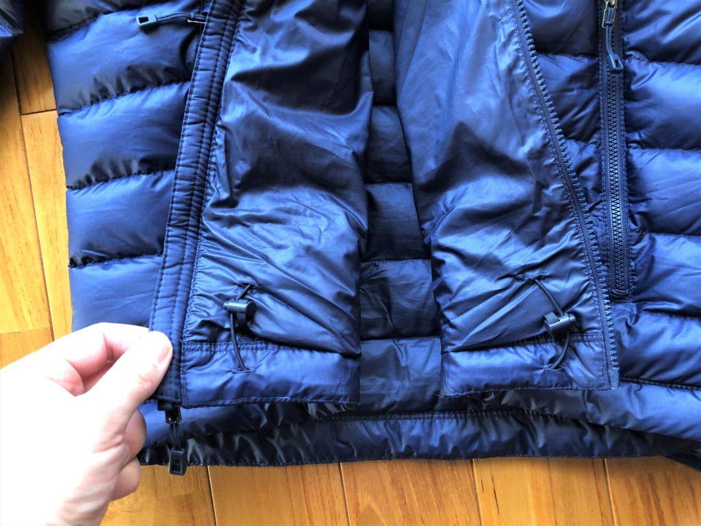 ブログ「モノオス」パタゴニアダウンセーターの裾裏にあるしぼりを撮った画像